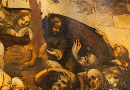 レオナルド・ダ・ヴィンチ「東方の三博士の礼拝」の一部